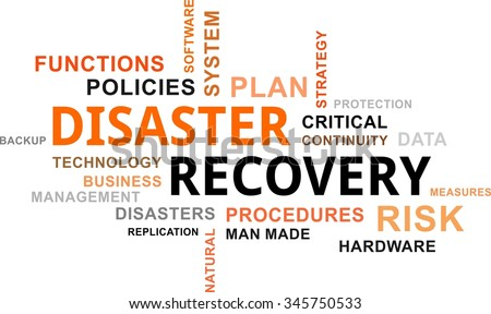 A word cloud of disaster recovery related items - stock vector