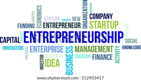 A word cloud of entrepreneurship related items - stock vector