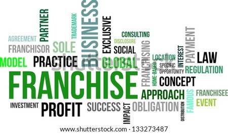 A word cloud of franchise related items - stock vector