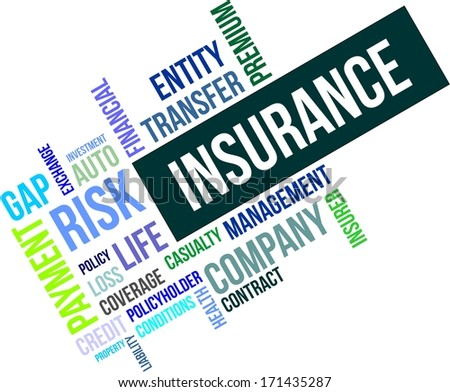A word cloud of insurance related items - stock vector