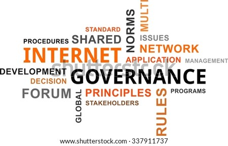 A word cloud of internet governance related items - stock vector