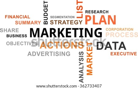 A word cloud of marketing plan related items - stock vector