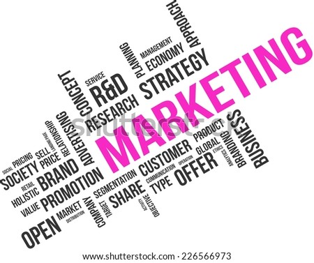 A word cloud of marketing related items - stock vector