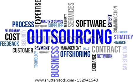 A word cloud of outsourcing related items - stock vector