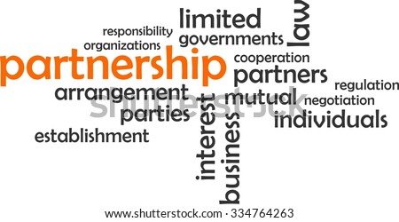 A word cloud of partnership related items - stock vector
