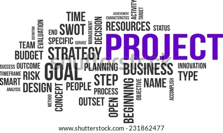 A word cloud of project related items - stock vector