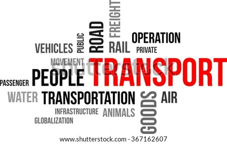 A word cloud of transport related items - stock vector
