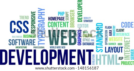 A word cloud of web development related items - stock vector