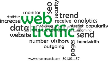 A word cloud of web traffic related items - stock vector