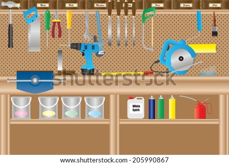 A Workbench with Cordless Drill ,Circular Saw, Hand tools, Paint Cans, Paint Brush, Paint Roller, Aerosols, Oil Can, Drill Bits. - stock vector
