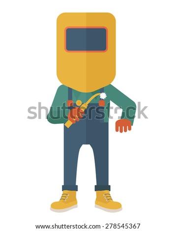 A worker wearing welding mask, protection for eyes use for welding a metal or steel. A Contemporary style. Vector flat design illustration isolated white background. Vertical layout. - stock vector