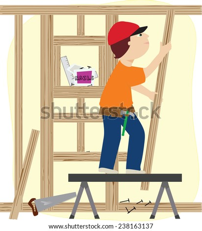A working man constructing a frame for a building/The Framer - stock vector