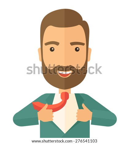 A working man want to change his clothes as to change his position in the company. Successful concept. A Contemporary style. Vector flat design illustration isolated white background. Square layout - stock vector