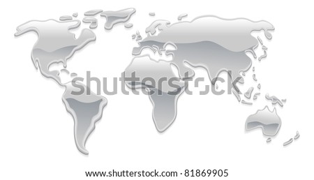 A world map made with liquid silver metal droplets like mercury forming the continents - stock vector
