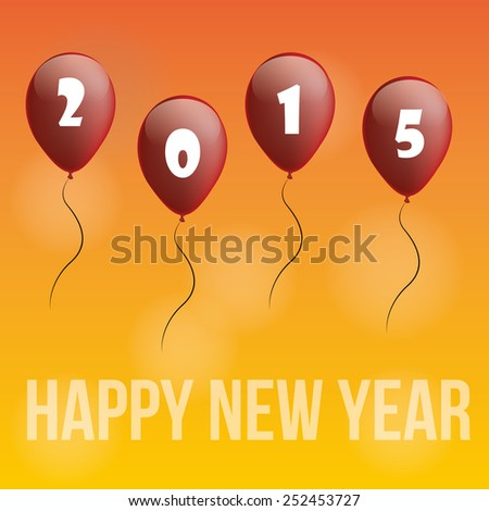 a yellow background with text and balloons for new year - stock vector