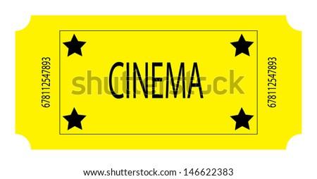 A Yellow Cinema Ticket. Vector - stock vector