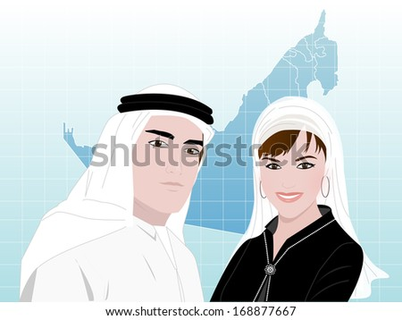 A young Arab man and a woman wearing traditional Arabic clothes standing smiling on a background of United Arab Emirates map.  - stock vector