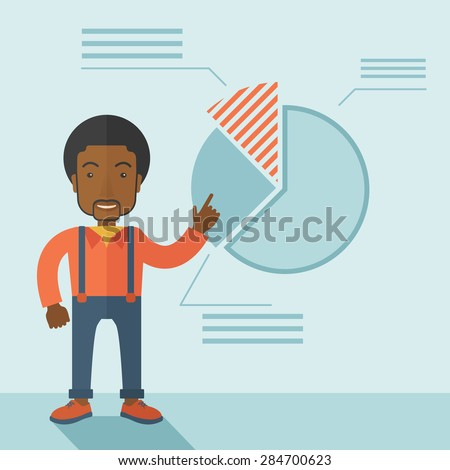 A young black guy represents and share his business financial pie chart. Teamwork concept. A contemporary style with pastel palette soft blue tinted background. Vector flat design illustration. Square - stock vector