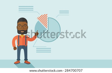 A young black guy represents and share his business financial pie chart. Teamwork concept. A contemporary style with pastel palette soft blue tinted background. Vector flat design illustration - stock vector