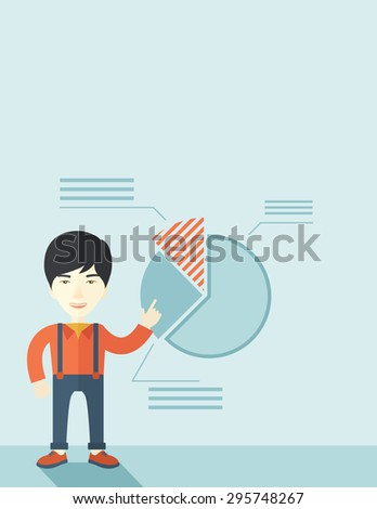 A young chinese guy represents and share his business financial pie chart. Teamwork concept. A contemporary style with pastel palette soft blue tinted background. Vector flat design illustration - stock vector