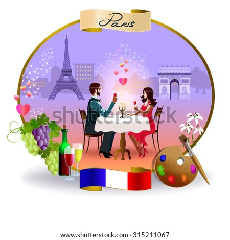 A young couple sitting at a cafe table. On the background, views of Paris. Below is the flag of France. On the left is grapes and wine. On the right is palette. - stock vector