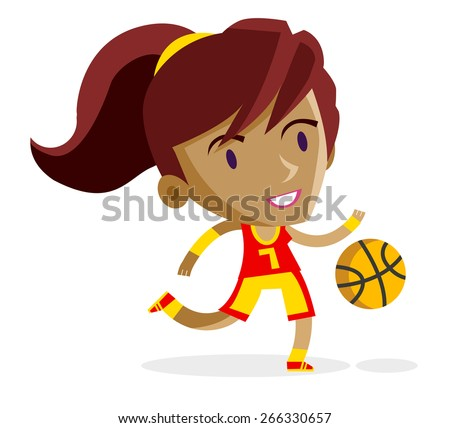 a young girl playing basketball - stock vector
