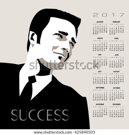 A young, handsome, successful businessman in this 2017 calendar - stock vector