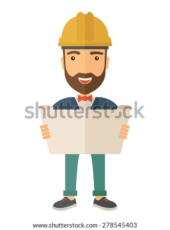 A young hipster engineer holding while reviewing the construction plan. A Contemporary style. Vector flat design illustration isolated white background. Vertical layout. - stock vector