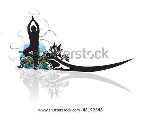 A young man doing yoga vector silhouette in floral wave line , vector illustration - stock vector