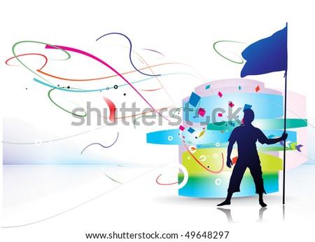 A young man holding a black flag with space of your text, vector illustration, No mesh in this Vector - stock vector