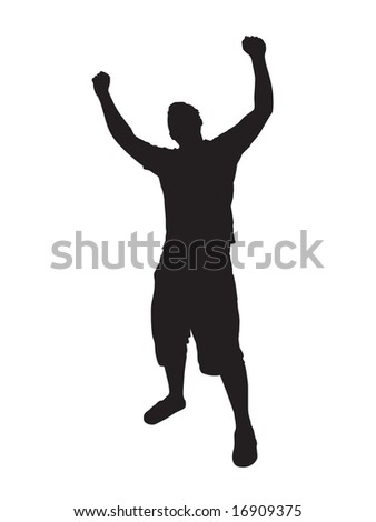 A young man joyously throws his hands up in the air. - stock vector