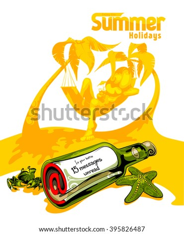 A young man on the beach relaxing and drinking cocktail under the heat of the sun with two coconut tree. Not read incoming messages. White background - stock vector