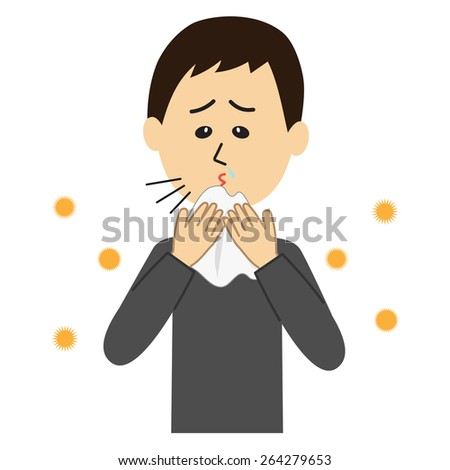 A young man sneezing, allergen flowing in the air, vector illustration - stock vector