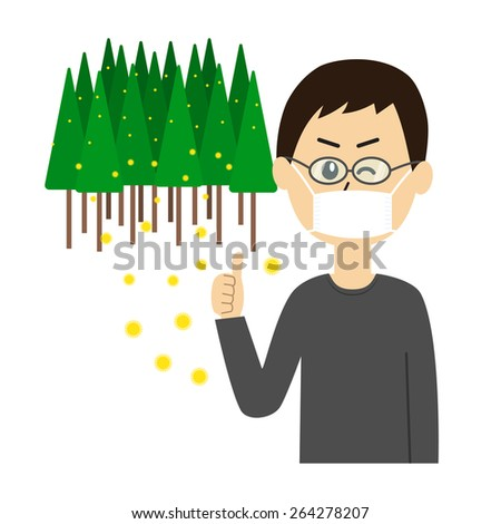 A young man winking with a mask and glasses on, allergy caused by cedar pollen, vector illustration - stock vector