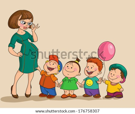 A young nursery governess looks at kids - stock vector
