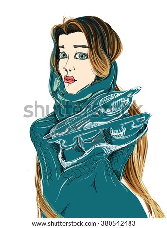 A young woman carrying a pair of ice skates. A freehand vector illustration. - stock vector