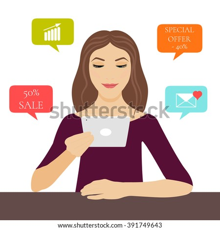A young woman holding a tablet pc in her hand with internet symbols: 50% sale, special offer, love email and growing graph. Computer tablet mockup. Cloud network vector icons. Mobile applications.  - stock vector