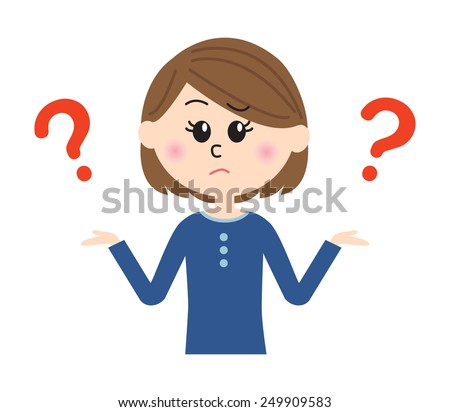 """A young woman shrugging with """"I don't know"""" expression on her face, question marks,  vector illustration - stock vector"""