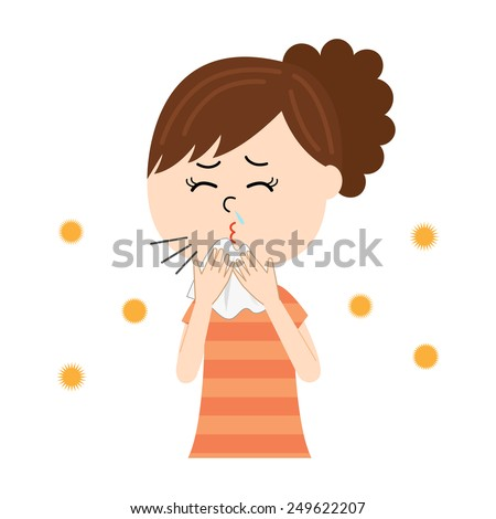 A young woman sneezing, allergen flowing in the air, vector illustration - stock vector