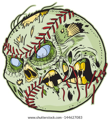 A Zombie Baseball Vector Cartoon! Color elements are in a separate layer in the .eps for easy customization! - stock vector