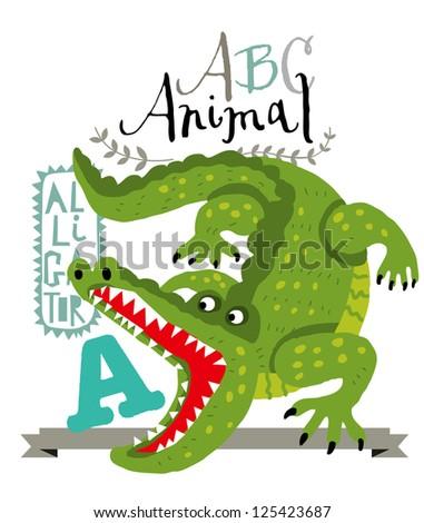 ABC alligator - stock vector