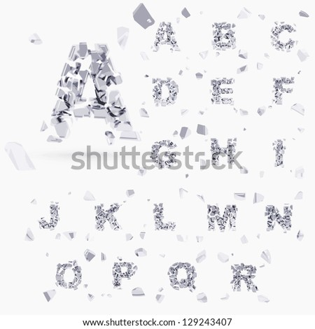 Abc alphabet type font set of vector letters broken into tiny glossy chrome silver pieces - stock vector