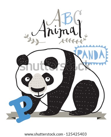 ABC animals: P is for panda. Vector Graphics - stock vector