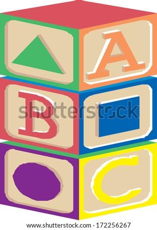 abc block  - stock vector