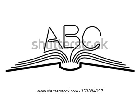 ABC book knowledge line flat vector - stock vector