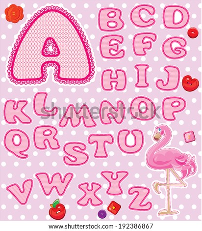 ABC - Childish alphabet - letters are made of pink lace and ribbons  - version for baby girl. - stock vector