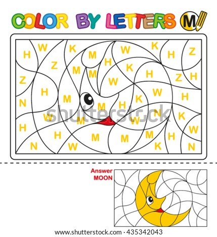 ABC Coloring Book for kids. Color by letter. Learn to write capital letters of the English alphabet. Puzzle for children. Moon. M - stock vector
