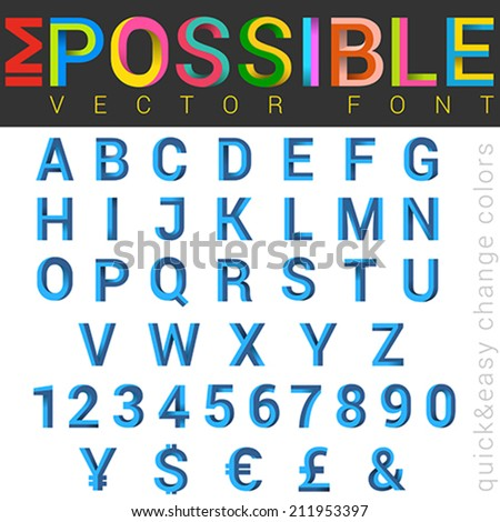 ABC Font impossible letters 3d vector design.  Alphabet good for logo, typography, titles. - stock vector