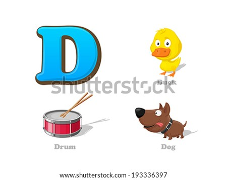 ABC letter D funny kid icons set: duck, drum, dog. Alphabet children education collection. - stock vector