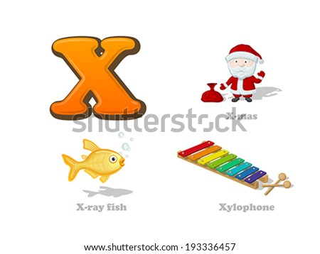 ABC letter X funny kid icons set: X-mas Santa, x-ray fish, xylophone.  Alphabet children education collection. - stock vector